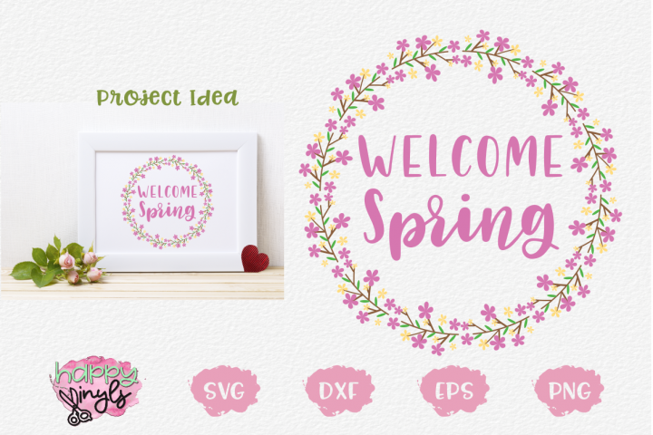 Welcome Spring Floral Wreath Cover Image