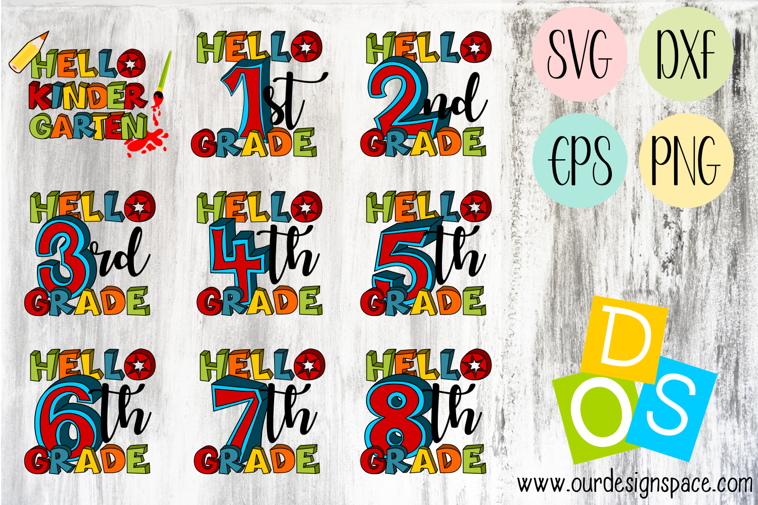 Hello School Grades SVG, DXF, EPS and PNG Bundle
