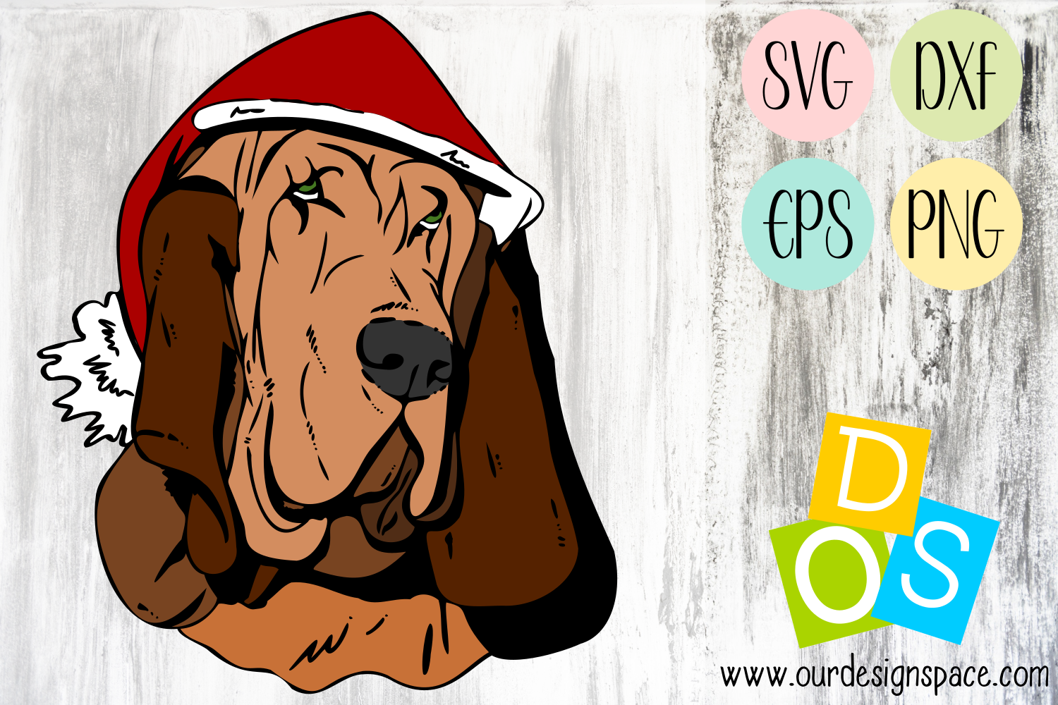 Basset Hound Christmas Dog SVG, DXF, EPS and PNG