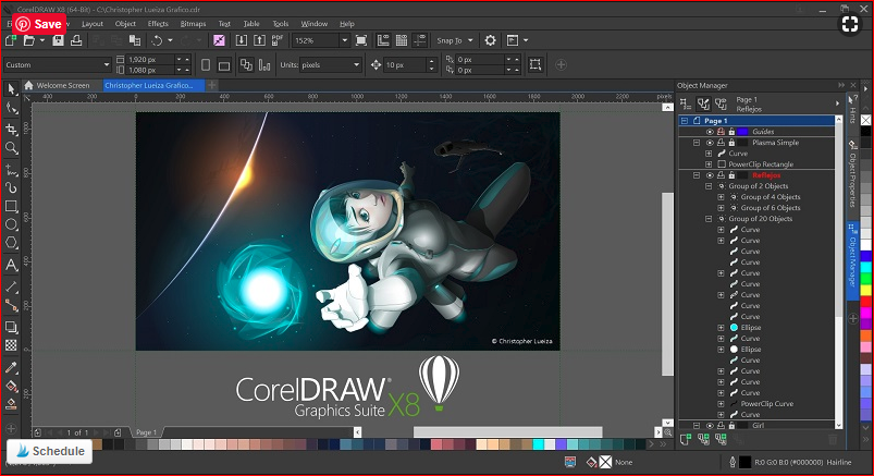 corel draw screen shot for SVG