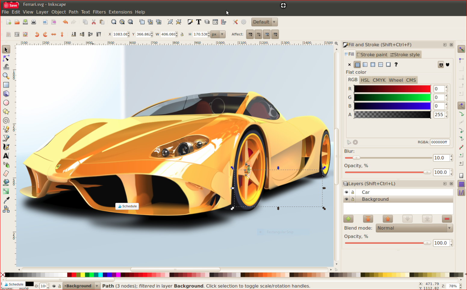 inkscape screenshot for SVG