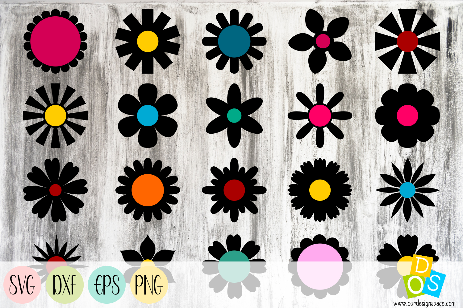Simple Flowers 3 SVG, DXF, EPS and PNG Craft file
