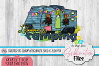 """colorful watercolor camper image with """"lets go camping"""" quote sublimation image"""