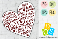 Love Heart Valentine Craft SVG, DXF, EPS and PNG file