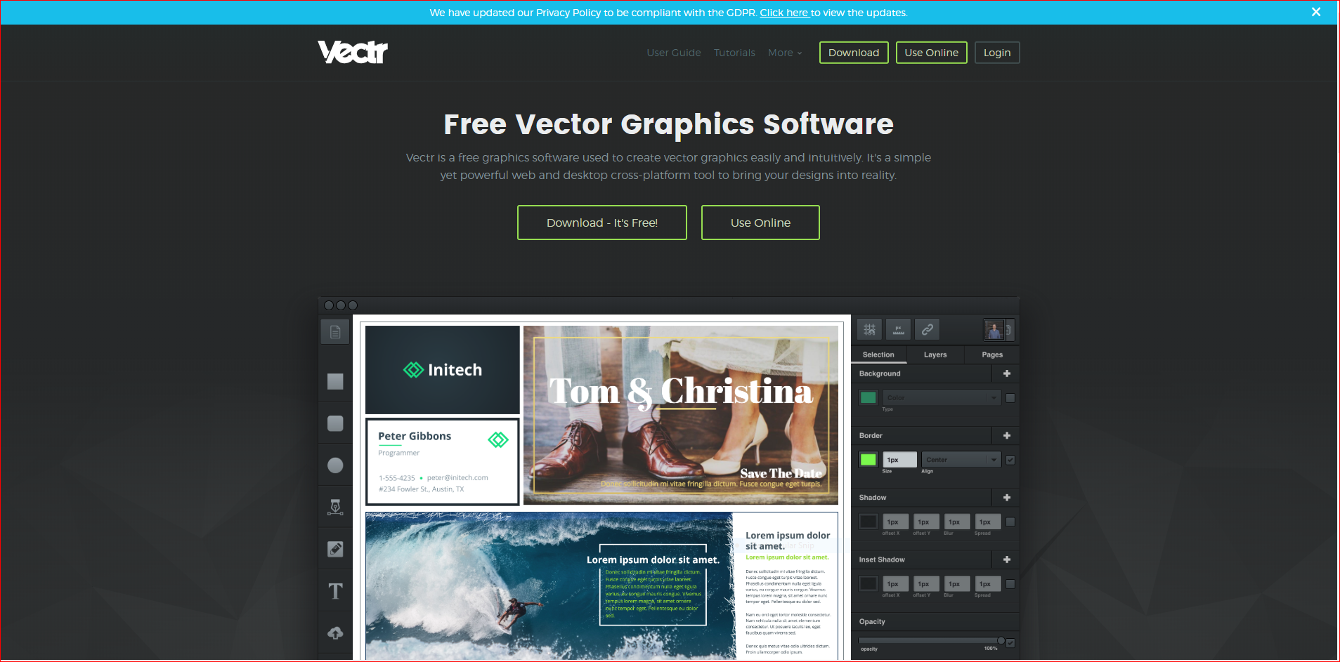 Vectr screen shot for SVG
